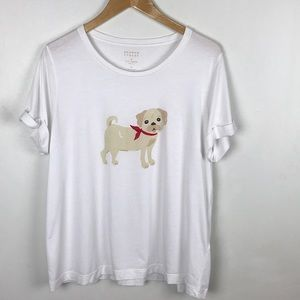 Kate Spade Broome Street White Puppy Dog Shirt XL